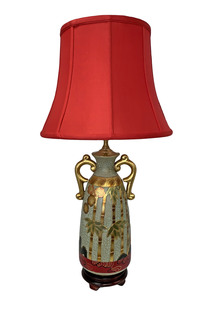 Imari Table Lamp Hand Painted with a Bamboo and Cherry Blossom Design seated on a Wooden Lotus Stand , with Fabric Shade, 3 Way Switch