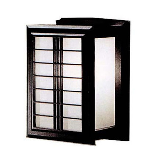 "10""H. Nikko Japanese Wall Lamp with Black Wooden Frame and a White Warlon Rice Paper Shade, In line on /off switch and Wall Mounting Kit"