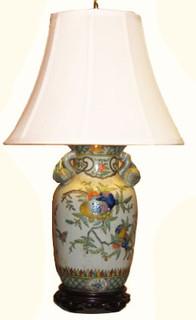 Peach handle Chinese porcelain lamp. Choice of shade