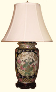 14 inch tall hand painted Chinese porcelain lamp with floral design. Choice of shade