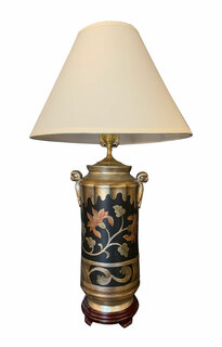 """34"""" H. Modern Asian silver leaf and hand painted floral porcelain Table Lamp."""