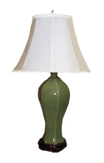 "32"" inch tall Chinese porcelain celadon lamp"