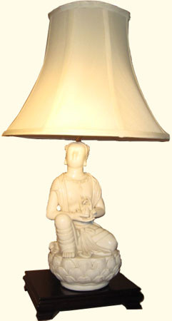 Lamp: Porcelain free standing chen blanc statue on rosewood stand