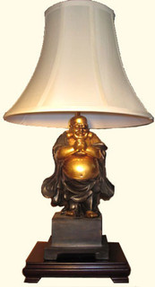 Lamp: Free standing Buddha on rosewood stand