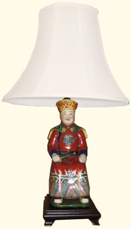 23 inch tall Chinese porcelain lamp: Chinese King statue on rosewood stand. Choice of shade