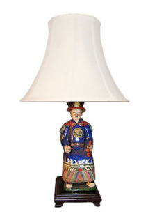 23 inch Tall Chinese Emperor Blue Lamp on Rosewood Stand