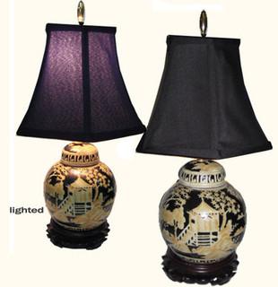 Hand painted Canton landscape ginger jar lamp