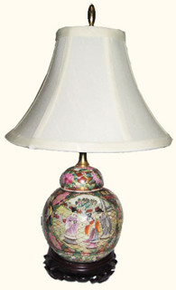 Hand painted rose medallion ginger jar lamp