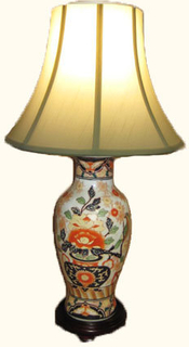 Oriental Porcelain Table Lamp with Hand Painted Japanese Imari Design