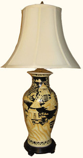 Hand painted Canton landscape fish tail lamp