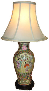 Oriental Porcelain Table Lamp with Hand Painted Rose Medallion