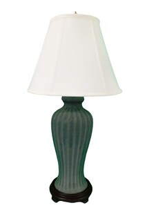 Tall Tong Chi Celadon Fluted porcelain Lamp