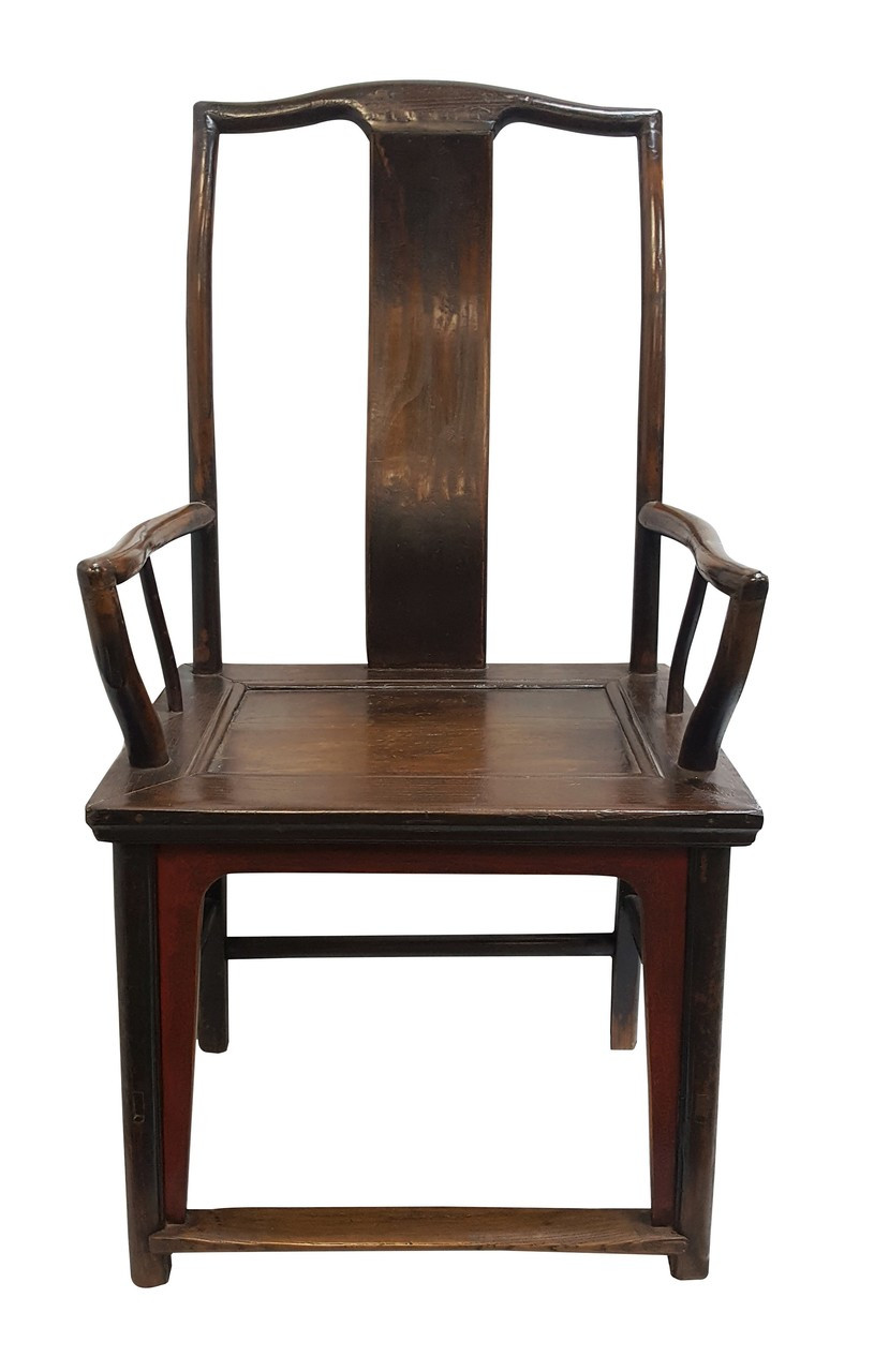 Pair of 22 inch wide antique elmwood scholar chairs - Oriental Scholar Chairs In Rustic Elmwood Use As Ocassional Chairs