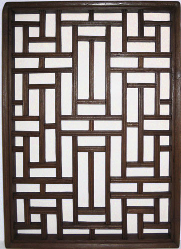 Asian Wooden Window Panel In Antique Elmwood 22 H