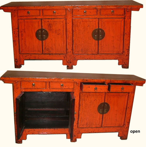 Chinese Red Cabinet Antique Lacquer Solid Carved Elm