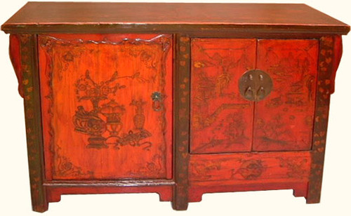 Shanxi antique landscape painted elmwood buffet
