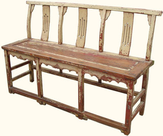 Chinese Antique Opera Bench 60 Quot Wide 3 Seater In Elmwood