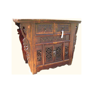 "43"" Wide Antique Carved Hall Chest"
