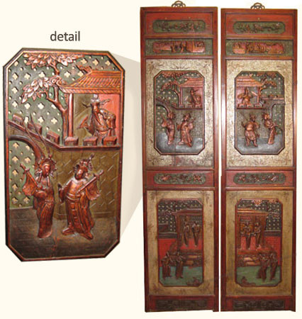 Chinese Antique Wood Wall Panels Refurbished Asian Wall
