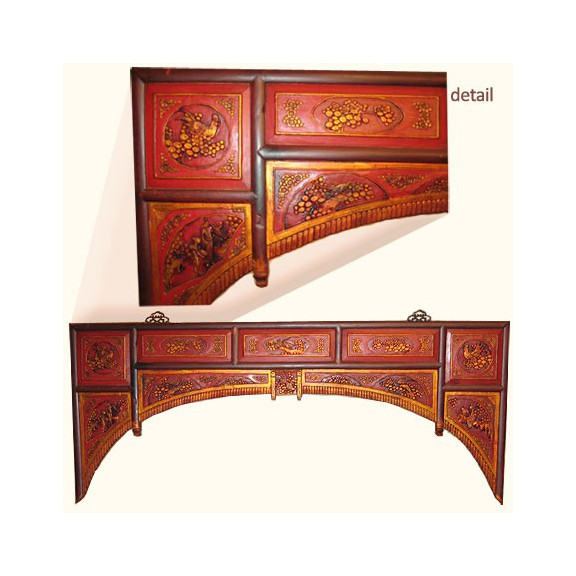 Image 1 - Oriental Antique Bed Panel In Opium Style With Gold And Red 65''Wide
