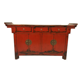 Oriental  Four Door, Three Drawer Red Painted Buffet