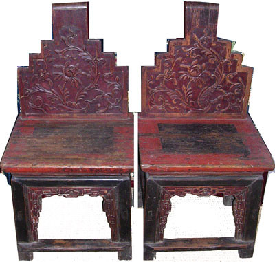 Antique Yuann 2 piece chair set - Set Of Chairs In Oriental Yuann Style In Elmwood In Red Lacquer And