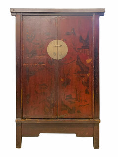 Chinese Antique Armoire Hand Painted Red