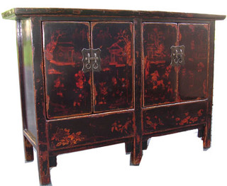 Antique painted four door,  six leg cabinet