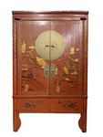 2 door, 2 drawer, 1 shelf red Chinese Antique Chest with landscape decoration