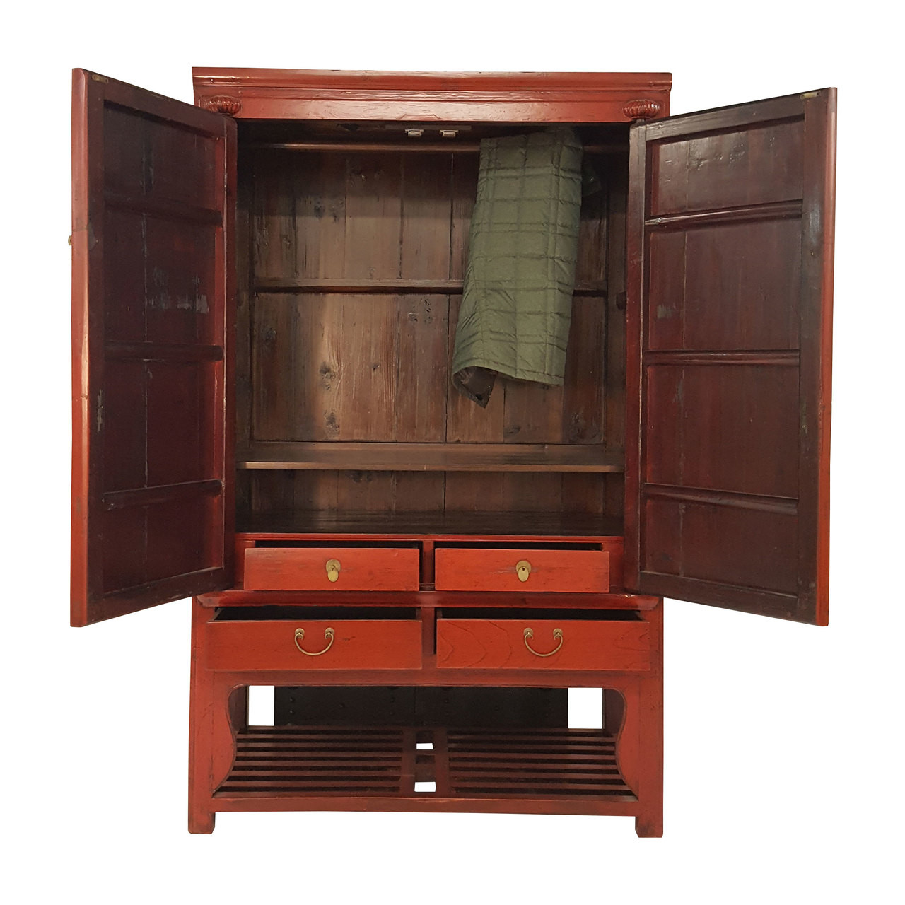 Larger / More Photos - Antique Chinese Armoire Red Lacquer Wedding Chest With Big Brass