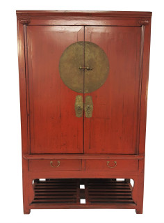 Red Chinese Antique Wedding Chest