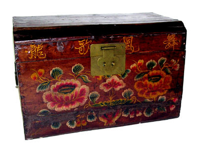Rare Chinese Antique Painted Box With Floral And Brass In