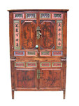 "42 by 22 by 66 "" high Antique chest on chest with shelves behind doors."