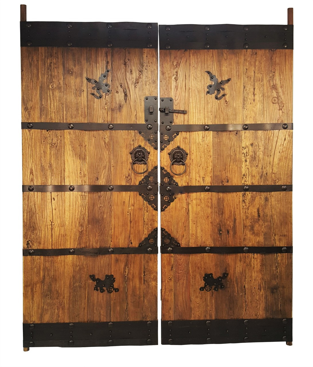 Image 1 - Antique Oriental Architectural Temple Doors With Hand Forged Iron