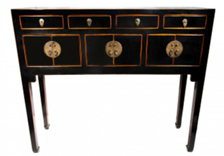 Black lacquer Oriental console table