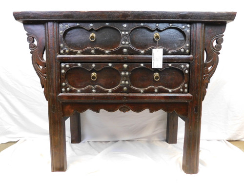 Northern Chinese iron handled chest of drawers