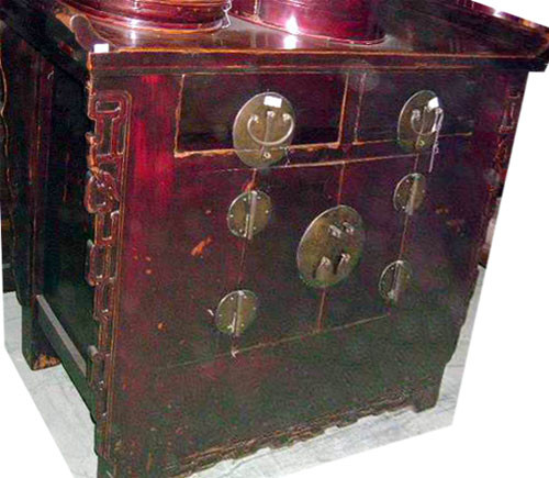 Chinese antique cabinet - Oriental Wing Top Altar Cabinet Antique Furnishing In Elmwood 48