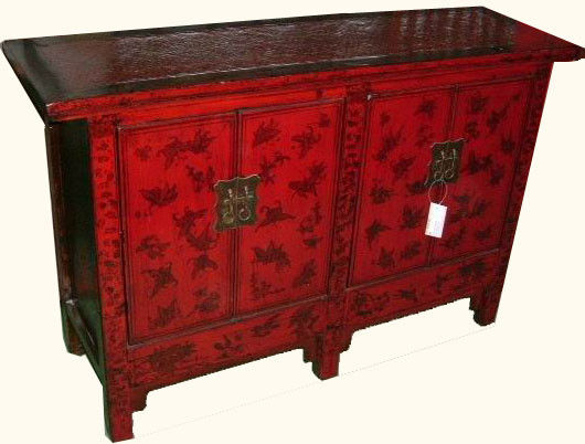 Rattan top rustic red hand painted Butterfly cabinet - Cabinet In Oriental Red Lacquer With Hand Painted Butterfly Design
