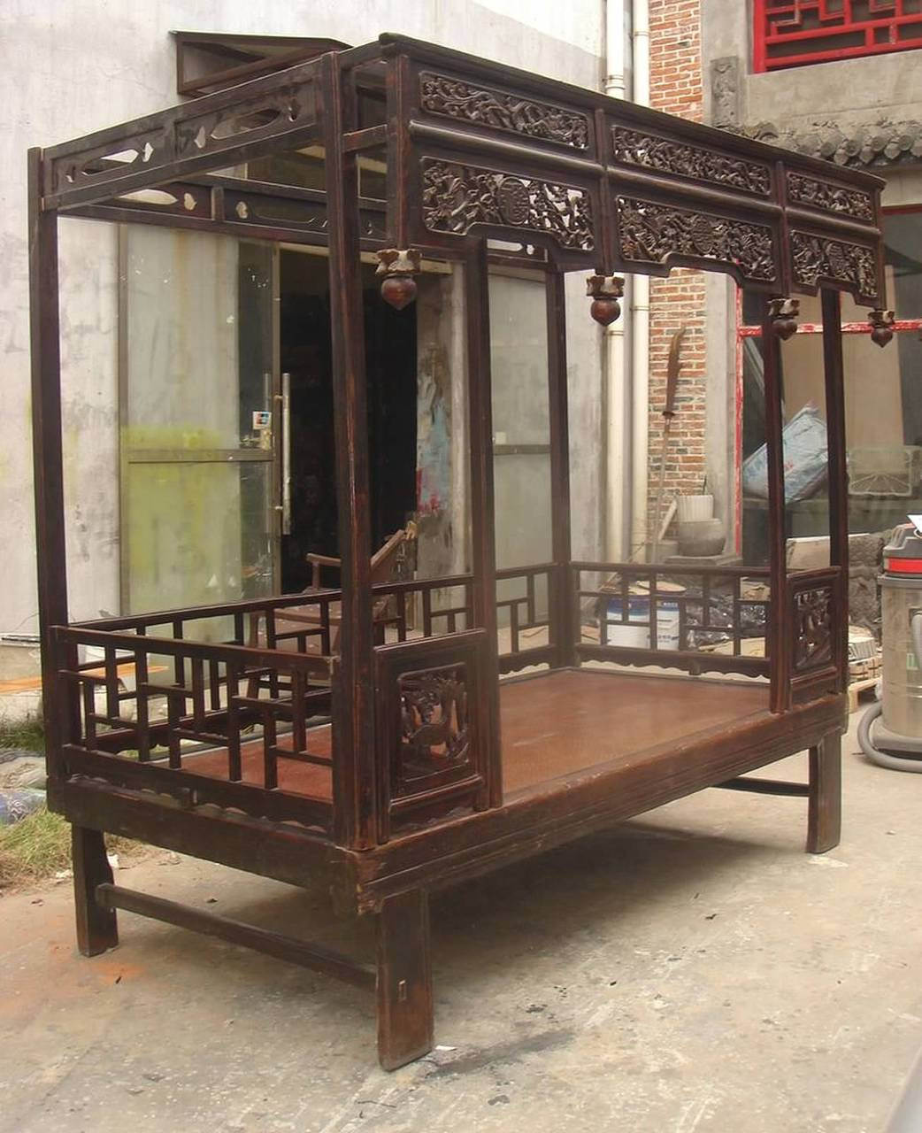 - Chinese Canopy Bed, Antique And Restored Elmwood With Carving And
