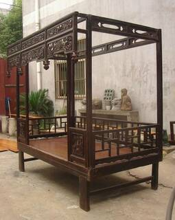 Chinese Canopy Bed Antique And Restored Elmwood With Carving And