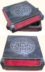 Chinese antique hand carved shoe box , with Long Life symbol.