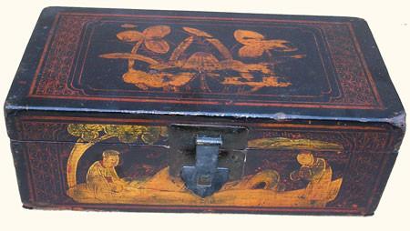 Consider, asian painted metal box