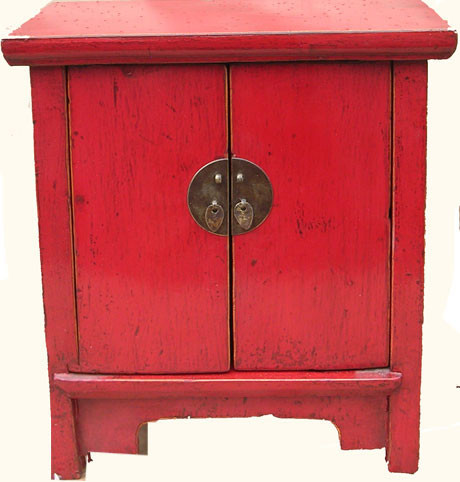 Cabinet in Asian Hand Painted Red Lacquer Elmwood with Two Doors ...