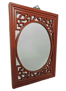 Canton Red Asian Mirror, Solid Fir Hand Carved Lattice Design