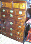 Korean antique 2 pc. Tansu set with 7 drawers and 2 sliding doors.