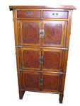 34 by 16 by 43.5 two layer antique polonia wood book chest. 3 doors, 3 drawers