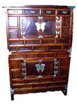 41 by 18 by 59.5 inch high Korean antique elmwood 2 pc. chest on chest. 4 drawers, 2 doors