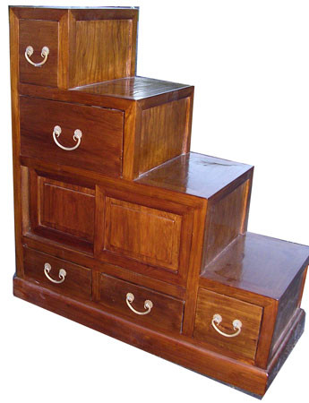Double Sided Step Tansu Chest Or Cabinet
