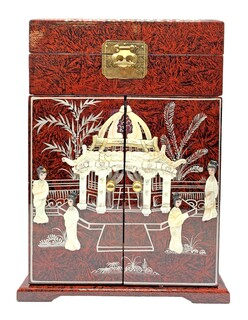 """16"""" Mother of Pearl French Red Oriental Jewelry Box, Felt Lined with Vanity Mirror"""