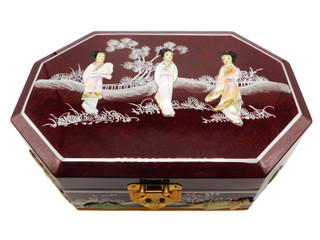 French Red Octagonal Oriental Jewelry Box With Pearl Inlays